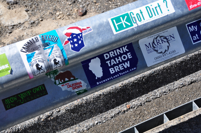 Viewpoint of mono lake, guardrail is plastered with stickers.