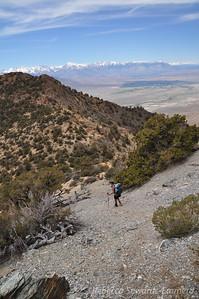 Scrambling down off of the false summit to the ridge.