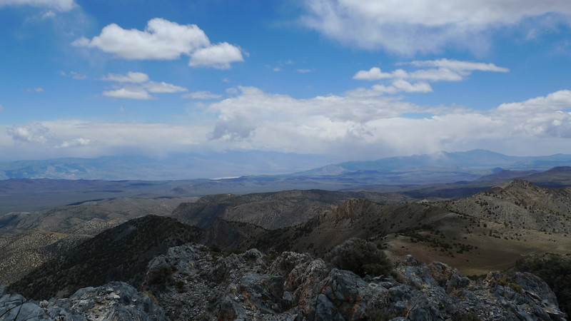 View towards Panamint Valley (dunes poking out, Telescope in the clouds)