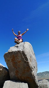 """Sooz on """"Angry Badger Peak"""" - the high point of our hike for the day"""