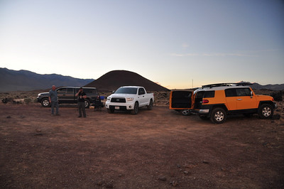 Friday night campsite at Fossil Falls. We all rolled in after work.