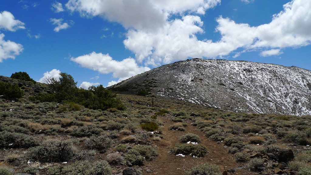 You can head straight up the slope, but there is a good switchbacking use trail that goes up from the road. It's marked by a cairn. I headed straight up on the way up but intersected the trail about 200 feet below the summit.