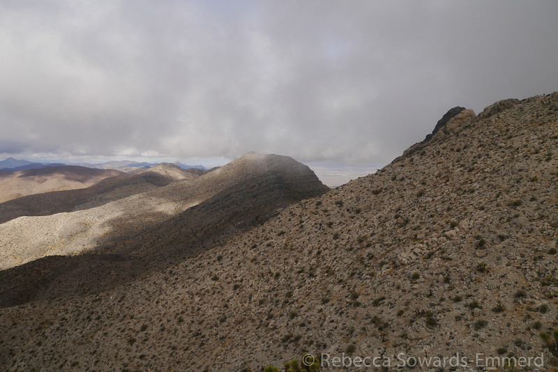 Of course. Getting to the summit ridge and the clouds roll in again.