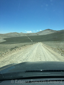 Driving out along the long, bumpy road. Fun in the outback.