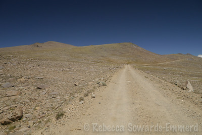 Where I popped back onto the road - looking back at Barcroft (the peak on the left, and the research station on the right).