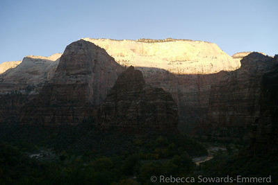 Sunrise on the canyon rim, Angel's Landing still in the shadows.