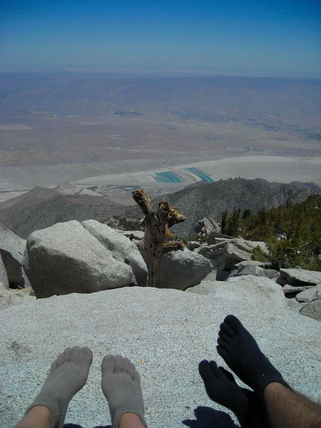 Lunchtime on the summit<br /> <br /> enjoying the view and the sun (and our awesome Injinji toe socks)