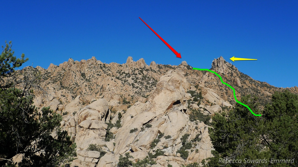 Now, having done it, I'm pretty sure the red arrow is pointing at the proper summit pile of New York Two (the higher of the two summit points). New York One is hiding behind it. The yellow arrow points at an impressive stack of rocks that we passed on our way to the summit. The green line is our very approximate line up the ravine.