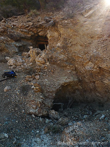 At the Giant Ledge mine. There are some interesting tunnels in here but inadequate support and collapses keep us from exploring too deeply. Several years ago david brought the gear to rappel down one shaft and ended up walking out that lower entrance.
