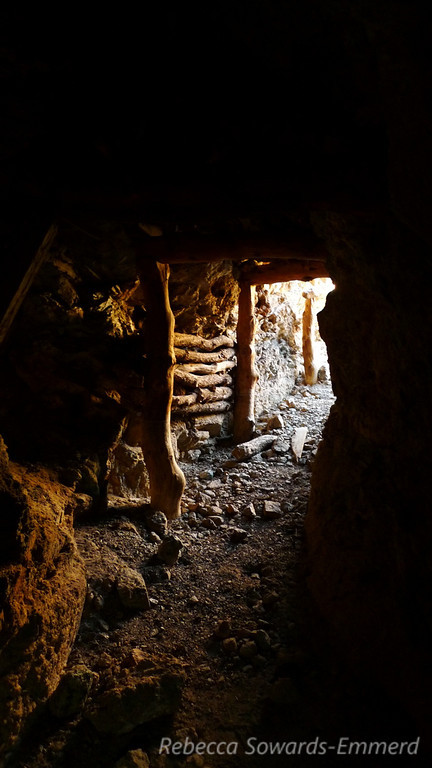 Looking back towards the main entrance from inside the Giant Ledge mine.