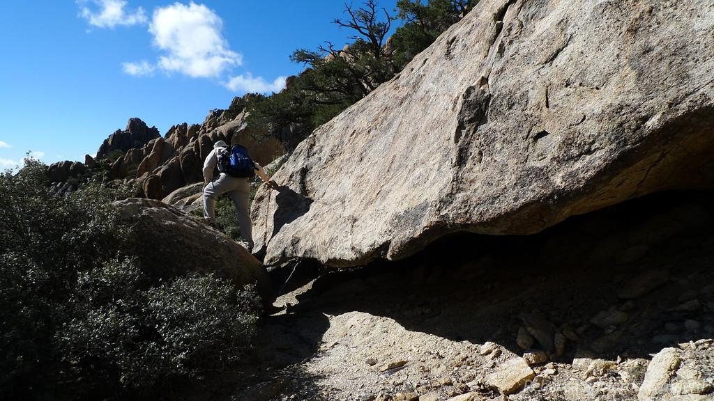 Navigating through the bigger rocks.