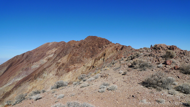 Starting to get into the rocks. We lose sight of the summit but just keep climbing - we know we'll get there eventually.