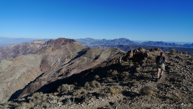 Leaving Dante and heading towards Mt Perry, the red peak to the left of center. There is use trail the whole way.