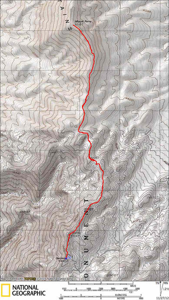 GPS track of the hike. We went over Dante's (twice) and along the ridge to Mt Perry.