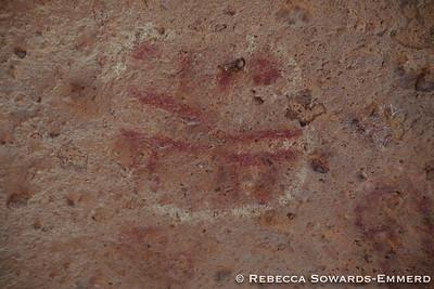 Pictographs inside the boulder