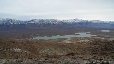 Haiwee Reservoir, highway 395, and the southern Sierra.