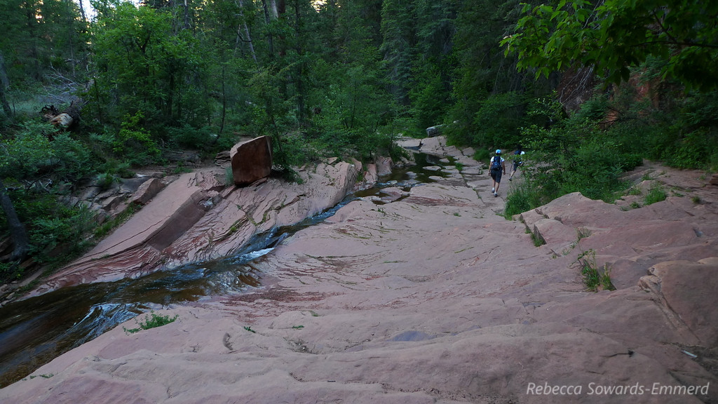 We follow water along a defined trail for about 3.5 miles.