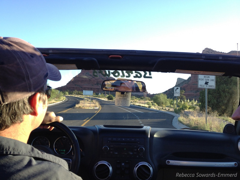 On our way to the hike, driving through Sedona in an open top Jeep. Whee!