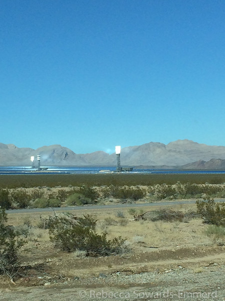 Driving past the Ivanpah Solar project. The collectors were glowing!