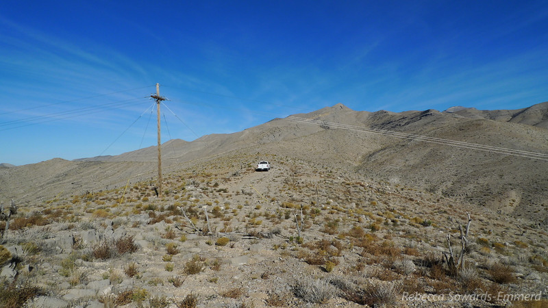 We drove out to Goodsprings, NV and followed the dirt road out of town towards Wilson Pass. We took a side road along this old power line and parked up on the ridge of Shenandoah Peak.