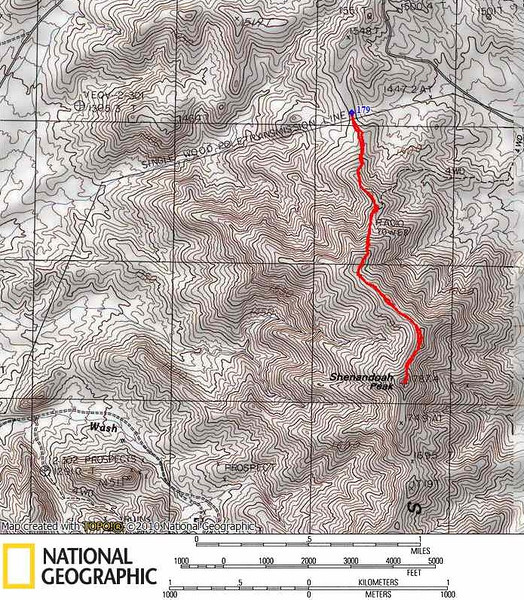 Track of the easy hike up Shenandoah. We took a steep 4WD road along the power line to the ridge. If you don't have 4LO (needed to get down from the ridge - the road is really steep) you can park at Wilson Pass and hike about an extra mile along the ridge.