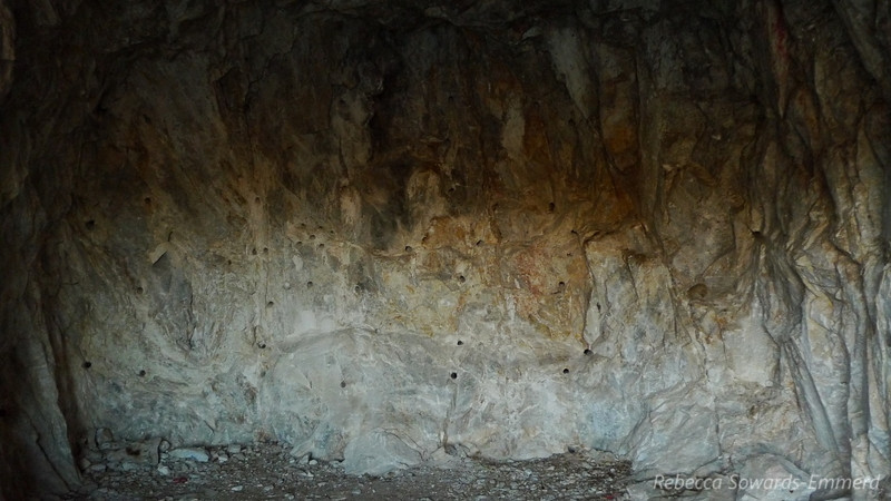 Once we had some daylight in our campsite I was able to peek in the old mine diggings. I think they were pulling talc from these holes. The 'dots' on the wall are where dynamite was inserted to blow the hole deeper.