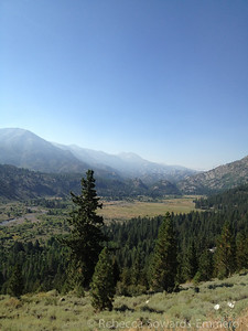 We drove out over Sonora Pass. Smoke from the Alpine fire was settling over Leavitt Meadow. Tower Peak was barely visible in the distance, and really not at all in this photo.