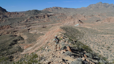 David following the ridge. You can see the maze-like terrain behind us. The canyon we came from is to the left.