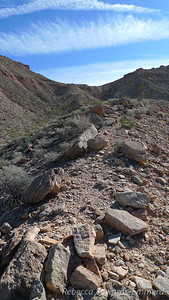 After finding our way across the more complicated terrain, we gain this ridge and follow it to the low point on the range.