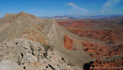 Looking back along the ridge. Canyon approach to the left of this image, Bowl of Fire on the right.