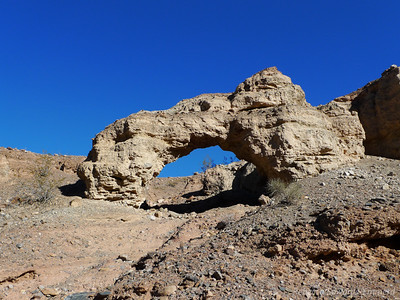 On Wednesday we drove from Las Vegas to our Thanksgiving meeting point just west of Death Valley. Along the way we decided to check out the first couple miles of the drive to Tucki Mine/Telephone Canyon. We were unable to do it in our Trailblazer several years ago so it was a test of the new Tundra. This is the arch in Telephone Canyon