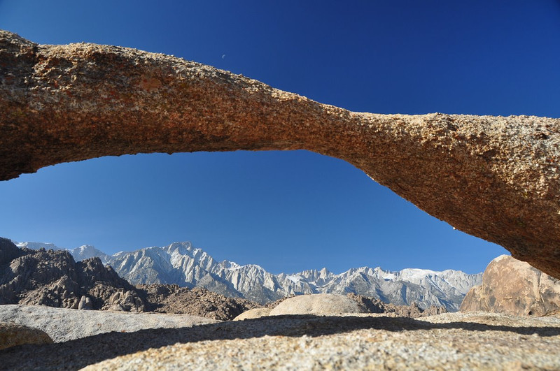 Lathe Arch, crescent Moon, and Mt Whitney