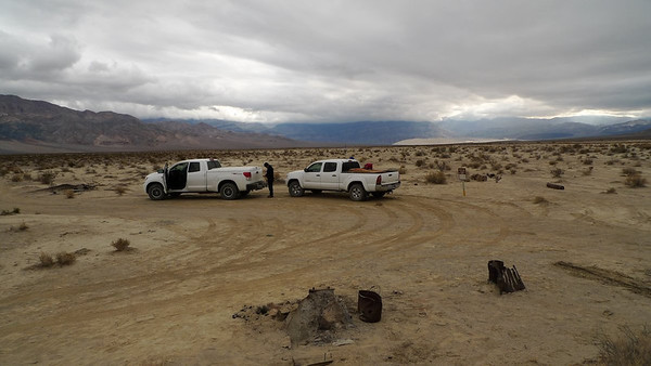 End of the road. Eureka Dunes in the distance. Low clouds with light rain from time to time.