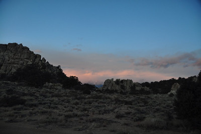 After a night that dropped into the single digits we woke up to storms blowing in over the sierra.