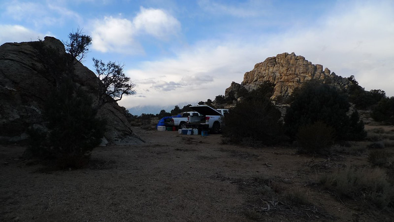 Campsite in Papoose Flat (Sierra view nearly obscured by clouds)