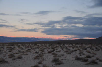 Morning view from Eureka Dunes campsite. Snow on the surrounding ranges.