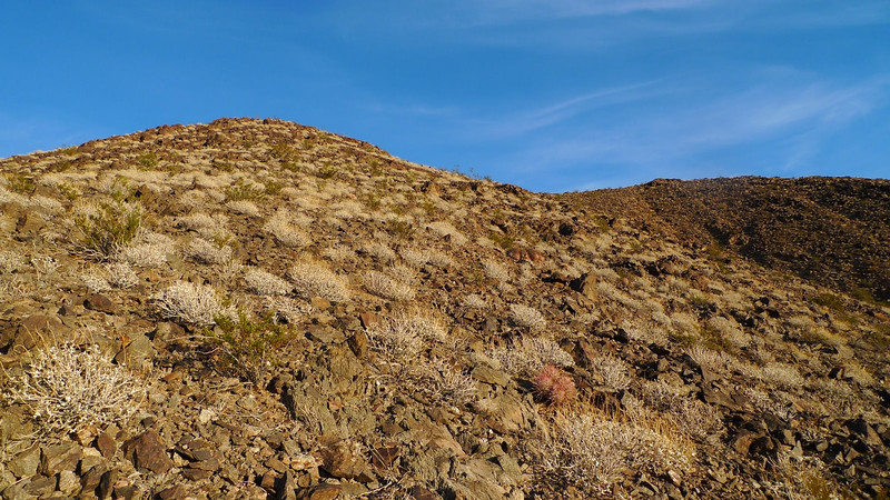 Heading up the crumbly rock slope.