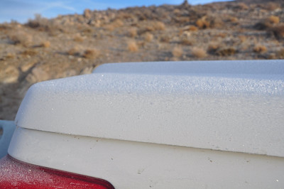 A cold morning - frost on the back of the truck