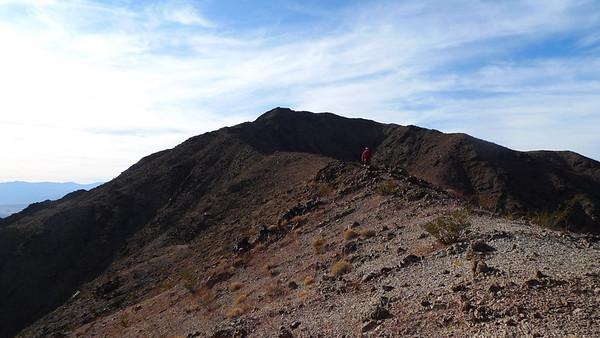 Antony heading up the ridge towards the summit of Jubilee Peak
