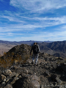 David heading down the summit