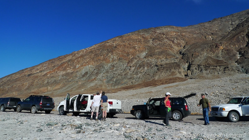 We stop at a point near badwater where Joe points out old plane wreckage on the mountainside.