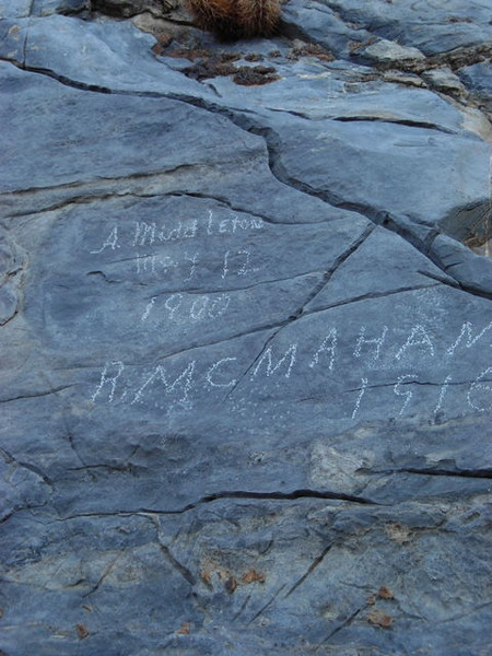 Not-so-ancient pictographs<br /> <br /> Some not-so-recent carvings, but still old, from the original miners in the area
