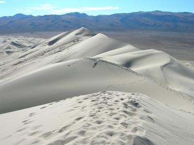 Eureka Dunes Ridge  no wind so previous vistors' tracks were well preserved.
