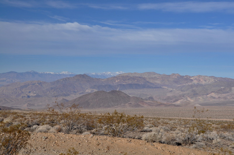As we start off towards Ibex Peak we can see the snow-covered Telescope Peak from the 'trailhead' (the point of road closure where we had to leave the 4x4s and continue on foot).