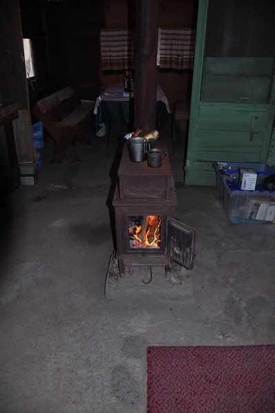 Wood stove to keep us warm in the morning. Also a good way to heat up water for tea!