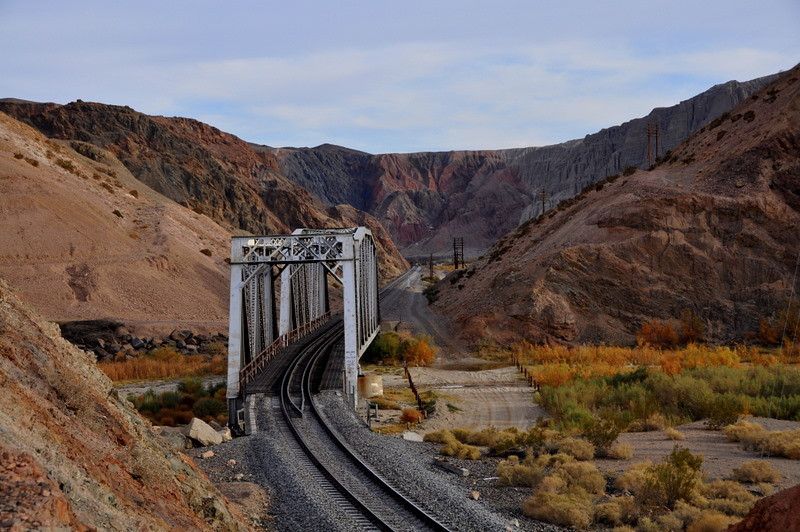 One of the railroad bridges where it crosses over the Mojave River.<br /> The River emerges from underground here in Afton Canyon.