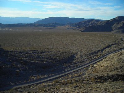 Lost Burro Gap  Back at camp, we climbed up to the ridge to find some fossils. This is the view down Hunter Mountain Road toward the Racetrack Road