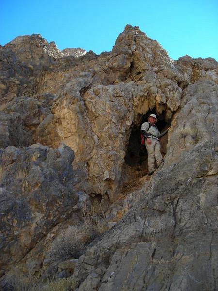 John finds a cave.