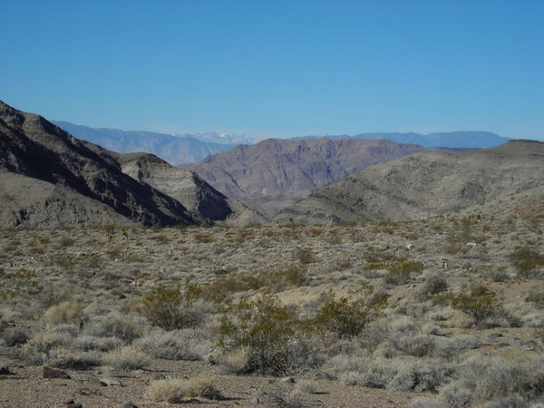 Looking toward Lost Burro Gap (our camp is in the gap)