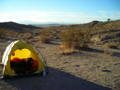 Campsite at Owl Canyon campground - just outside of Barstow  We drove down on Friday night and pulled into the nearly deserted campground around 10 pm.